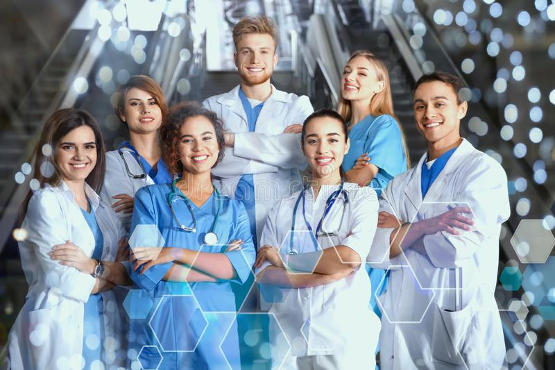 Group of medical students in college. Hallway stock photos