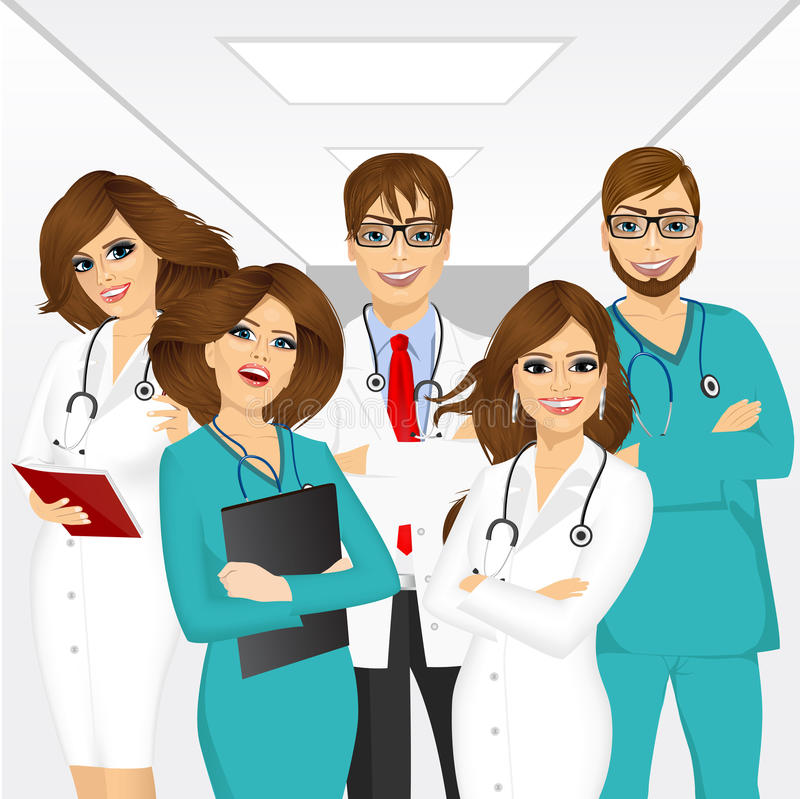 Group of medical team professionals. Standing in a hospital corridor smiling with arms folded royalty free illustration