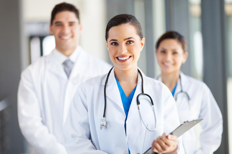 Group medical workers. Group of medical workers portrait in hospital royalty free stock photos