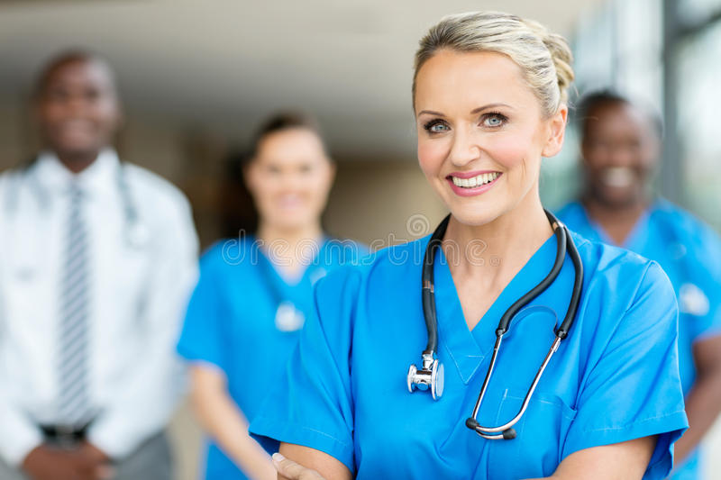 Group of medical workers royalty free stock photos