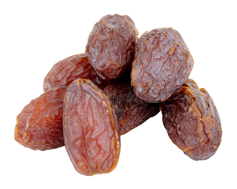 Group Of Medjool Dates. Group of large medjool dates isolated on a white background stock photo