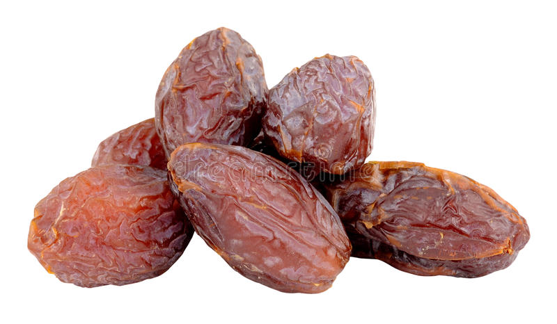 Group Of Medjool Dates. Group of large medjool dates isolated on a white background royalty free stock photos