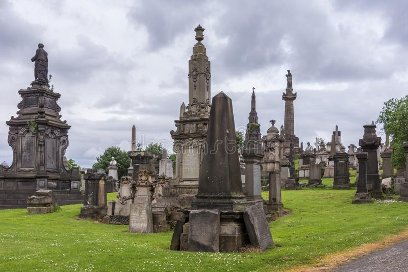 Group of memorial monuments at Glasgow Necropolis, Scotland UK. stock images