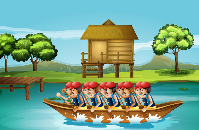 A group of men boating. Illustration of a group of men boating royalty free illustration