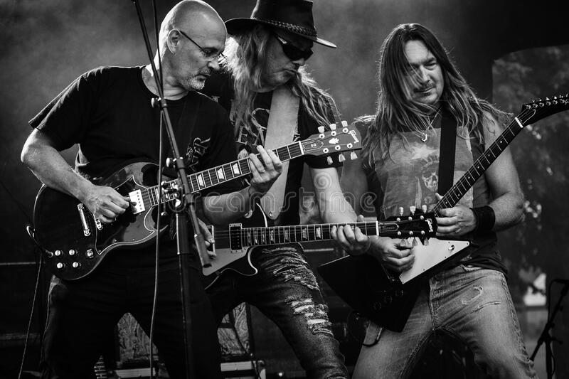 Group of Men Playing Guitar in Concert in Grayscale Photo stock image