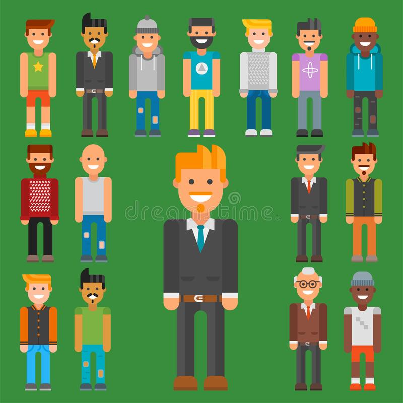 Group of men portrait different nationality friendship character team happy people young guy person vector illustration. Handsome teamwork casual fashion royalty free illustration