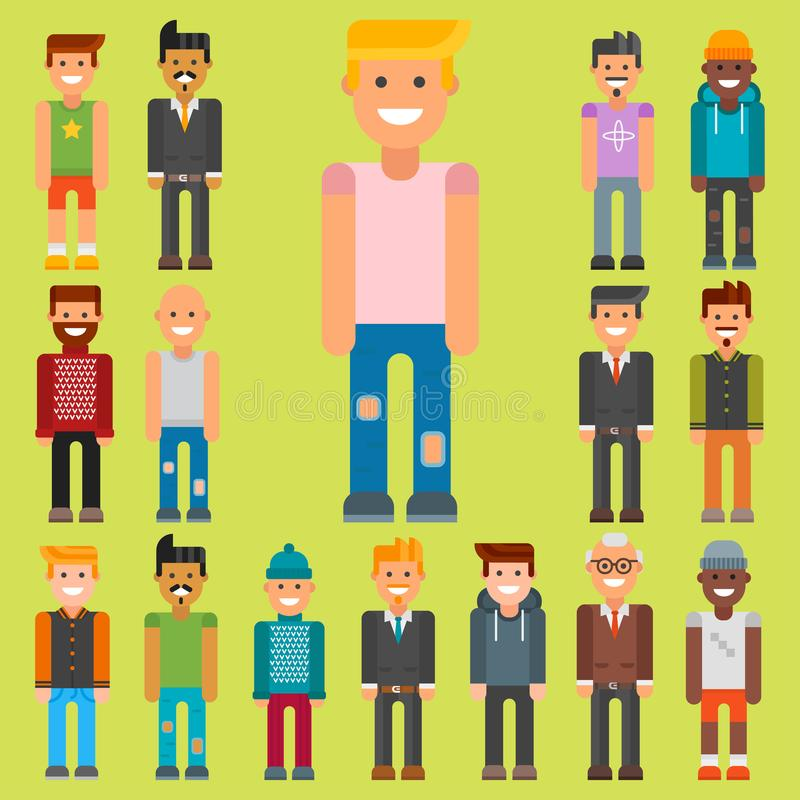 Group of men portrait different nationality friendship character team happy people young guy person vector illustration. Handsome teamwork casual fashion vector illustration