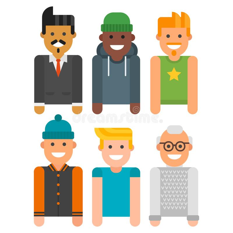 Group of men portrait different nationality friendship character team happy people young guy person vector illustration. Handsome teamwork casual fashion stock illustration
