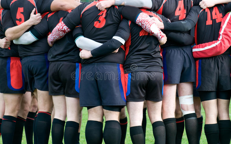 Group of men at rugby sport stock photography