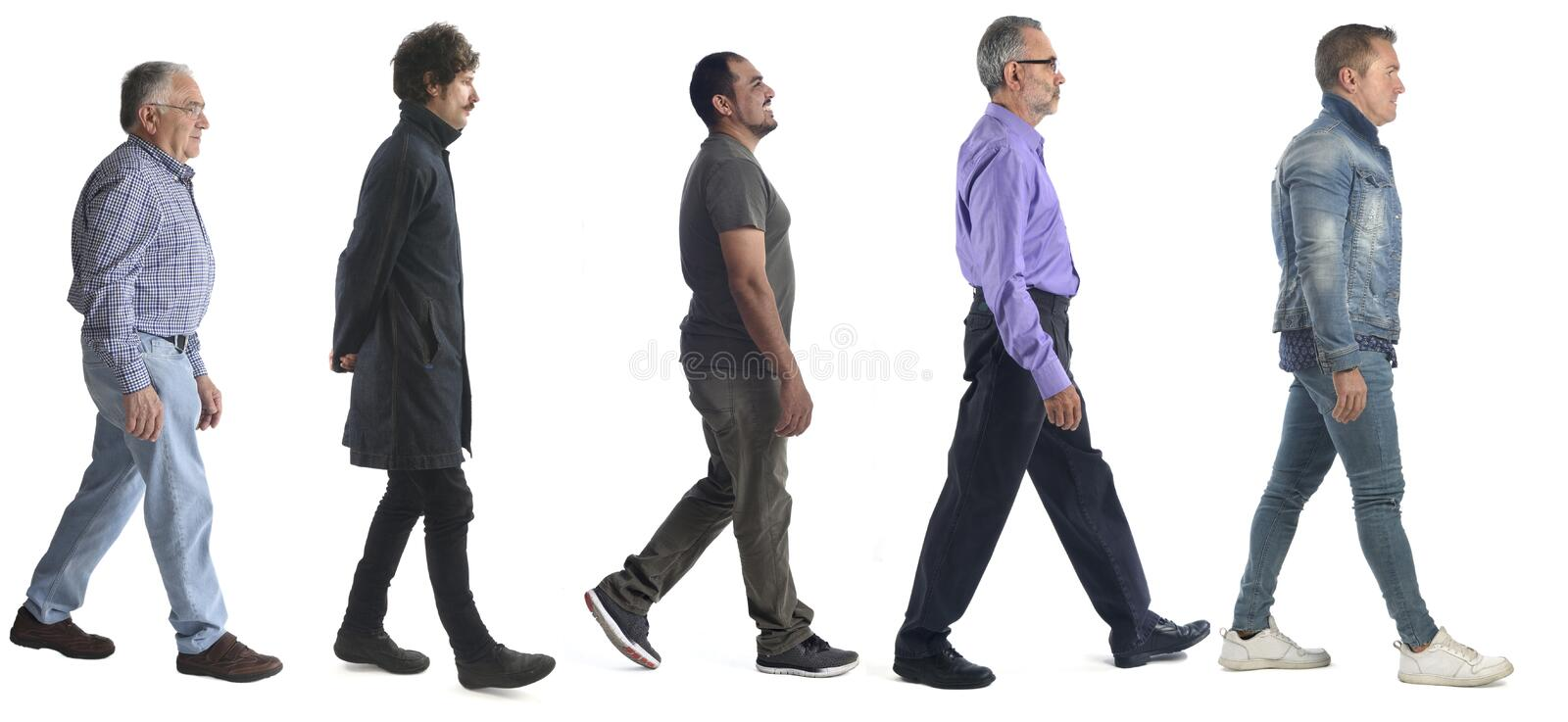 Group of men walking on white stock photos