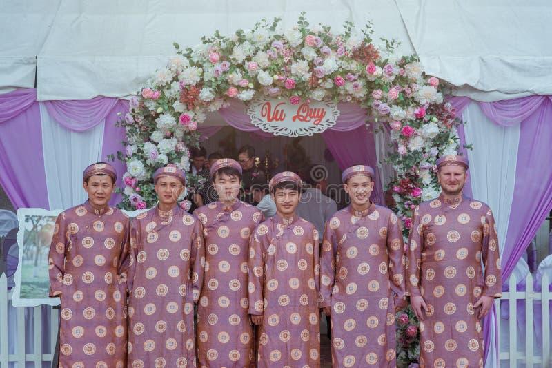Group of Men Wearing Pink Robes royalty free stock photos