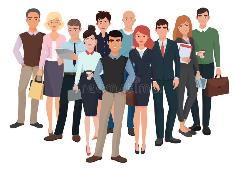 Group of men and women. Business creative team with leader. stock illustration