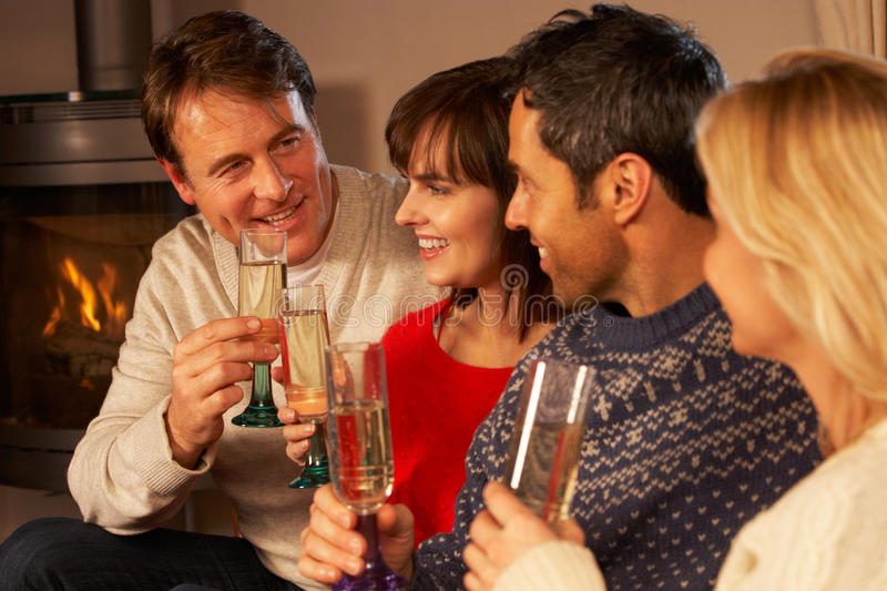 Group Of Middle Aged Couples With Champagne Royalty Free Stock Image