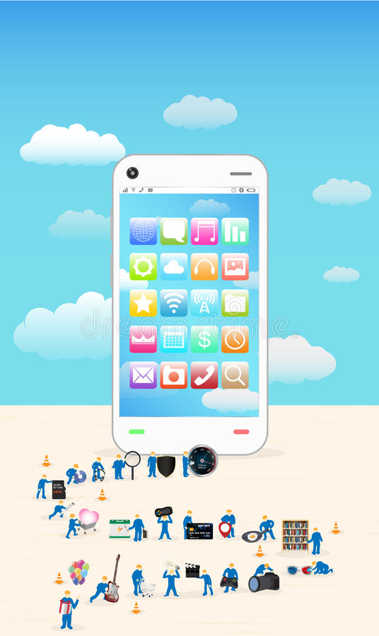 Group of mini worker building a smartphone stock illustration