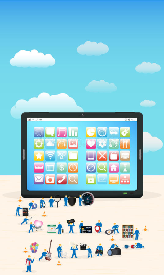 Group of mini worker building a tablet stock illustration