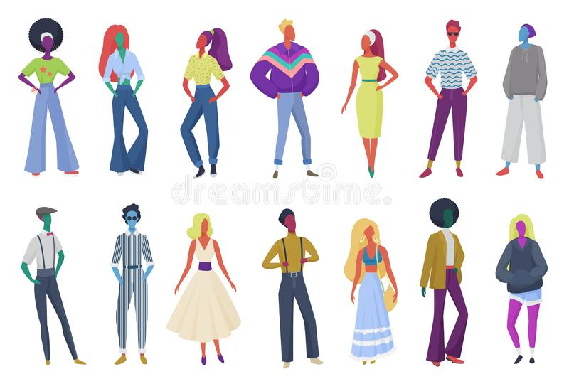 Group of minimalistic abstract retro fashion people wearing vintage clothes. Men and women in 60s, 70s 80s style. Clothing at retro disco party vector vector illustration