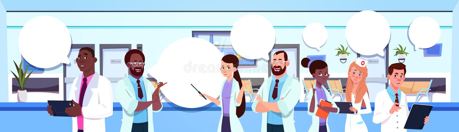 Group Of Mix Race Doctors Standing Over Modern Hospital Or Clinic Interior Background. Flat Vector Illustration royalty free illustration