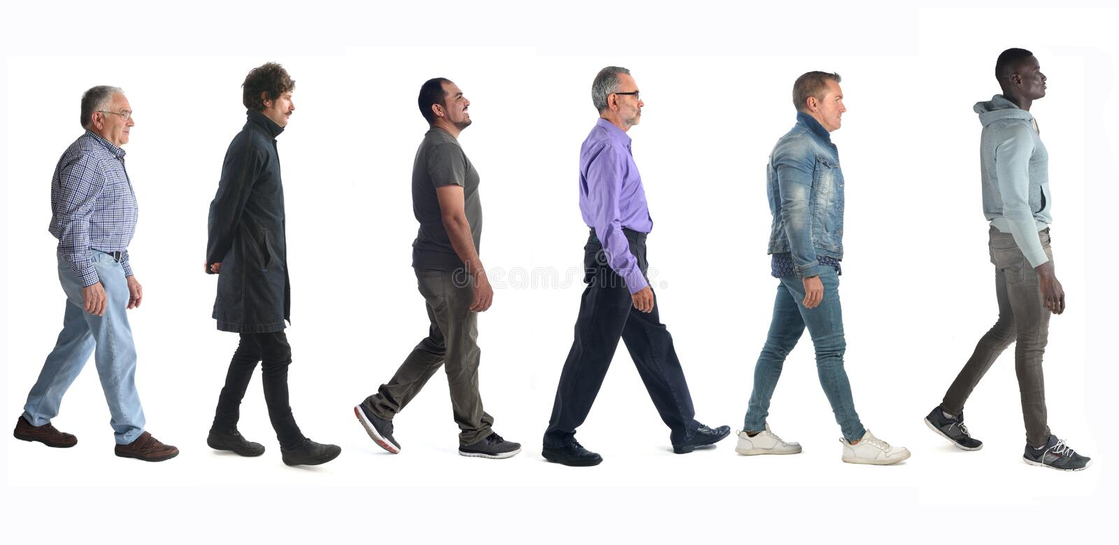 Group of mixed people walking on white royalty free stock images