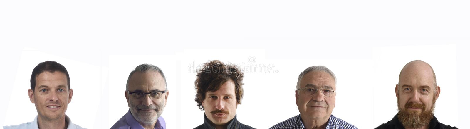Group of mixed people on white royalty free stock images