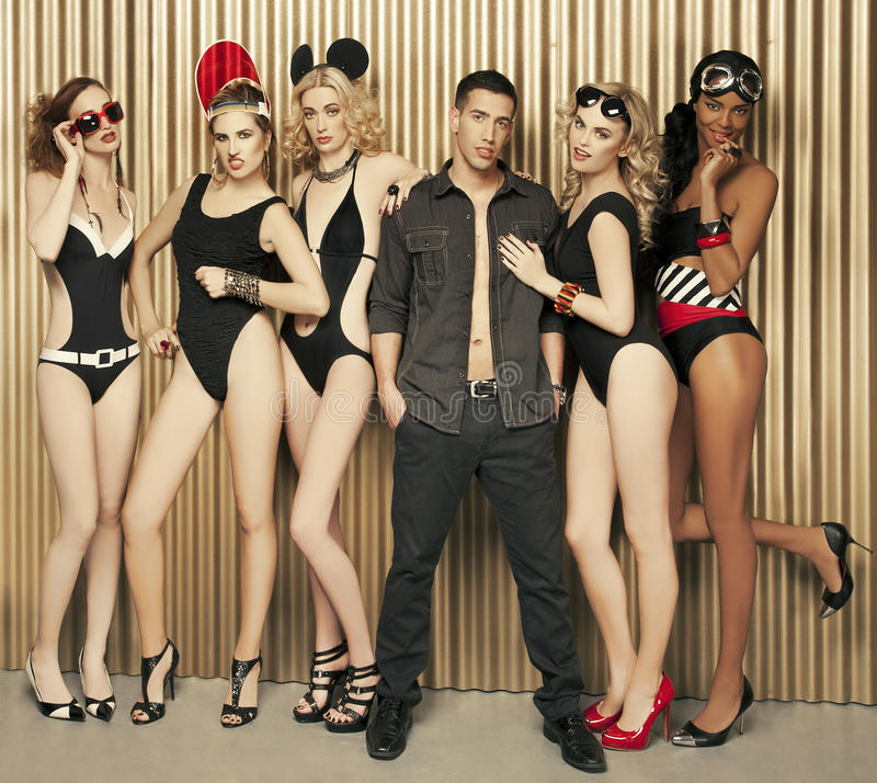 Group of models stock image