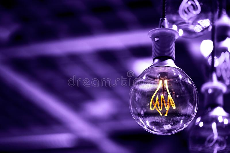 Group of modern Ultra Volet lamps stock photo