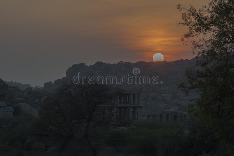 Hampi Monuments in south india royalty free stock image