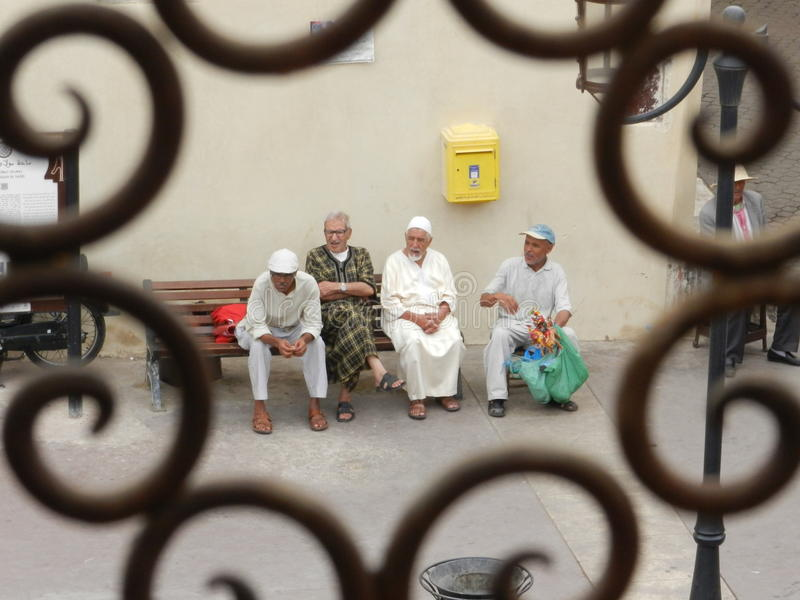 Group of moroccan men stock images