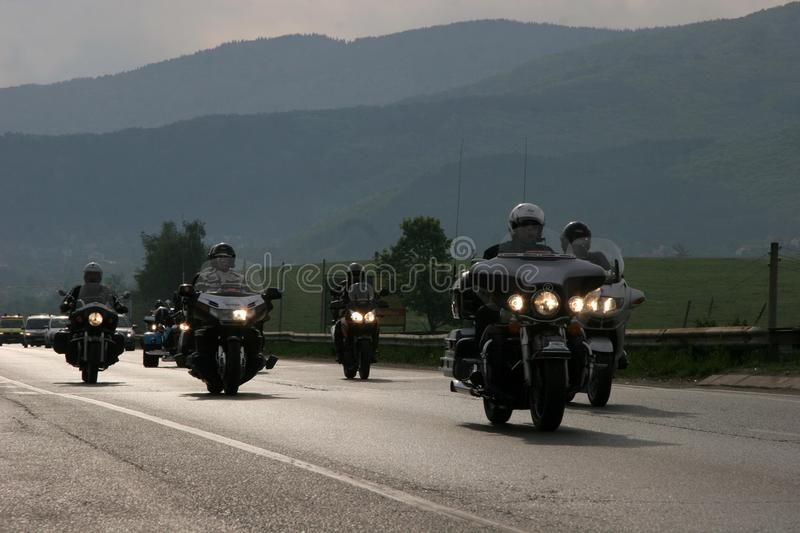 Group of motocycle riders on the road in the beginning of moto season – near by Sofia, Bulgaria, may 14, 2008.  royalty free stock photo