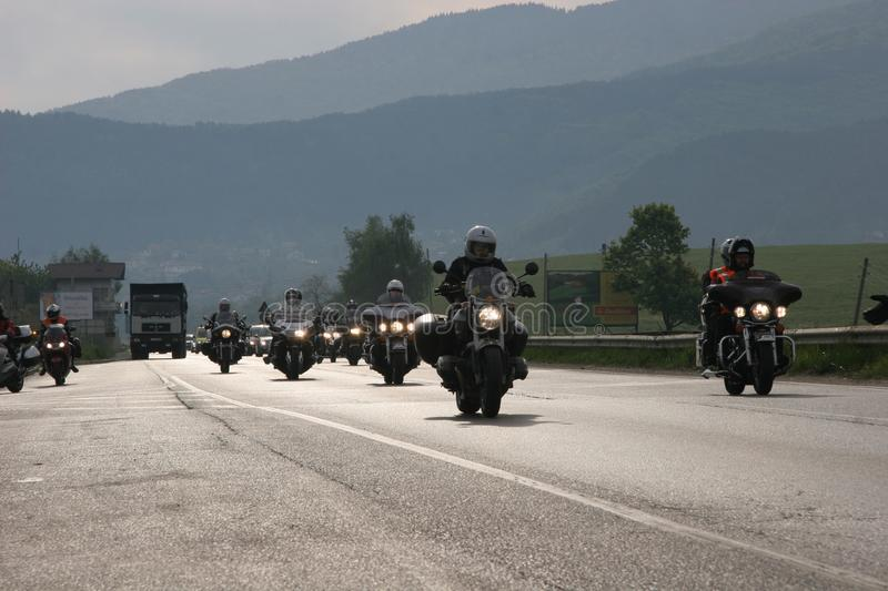 Group of motocycle riders on the road in the beginning of moto season – near by Sofia, Bulgaria, may 14, 2008.  stock photography