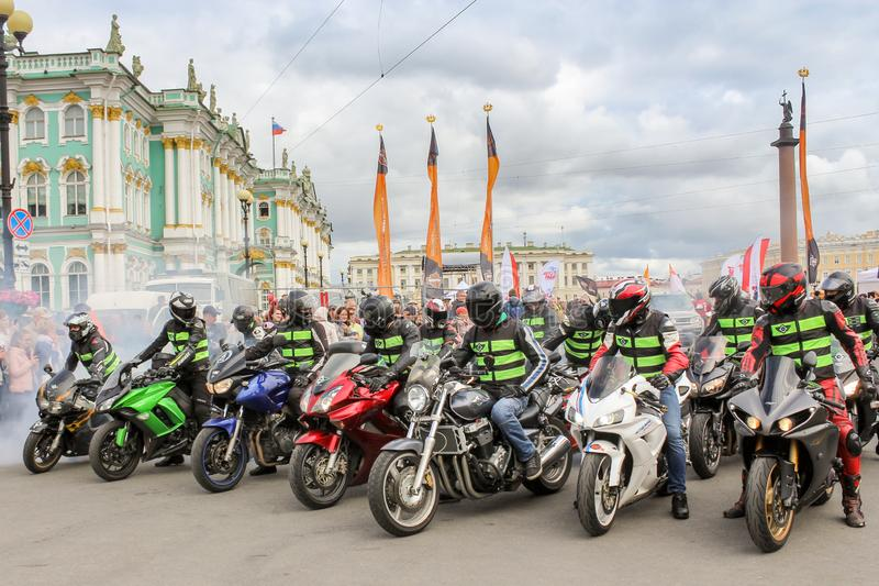 A group of motorcyclists on speed bikes royalty free stock photos