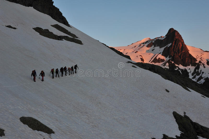 Group of mountaineers stock image