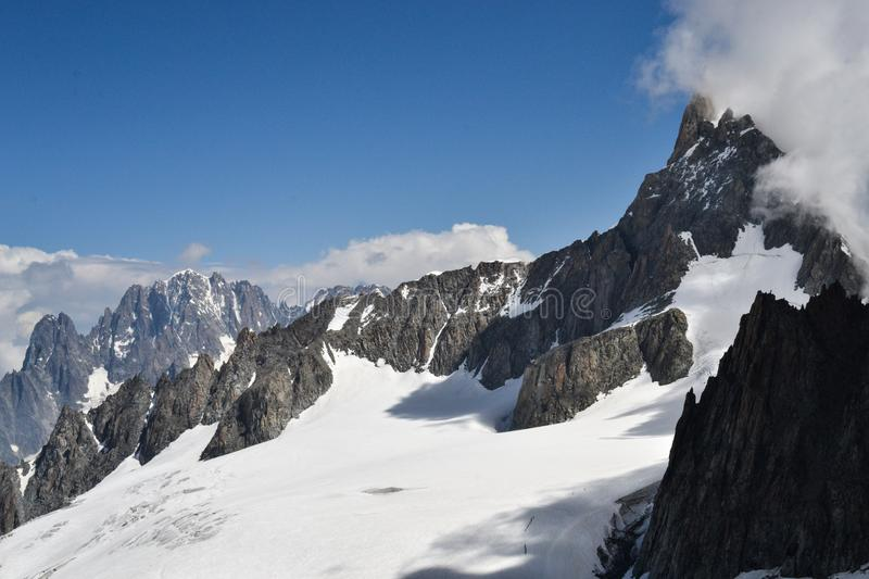 Group mountains of Mont Blanc in the summertime royalty free stock images