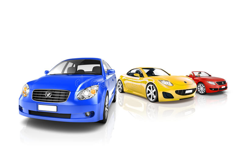 Group of Multi Coloured Modern Cars.  stock image