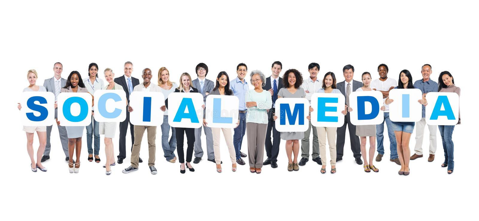 Group Of Multi-Ethnic Group Of Business People Holding Placards stock image