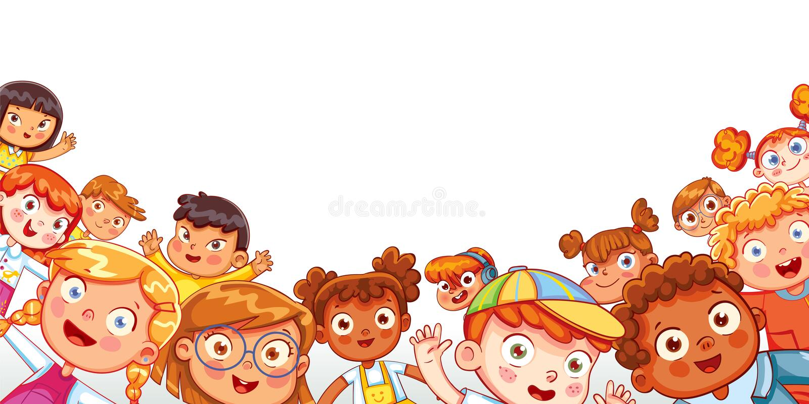 Group of multicultural happy children waving at the camera. Children`s panorama for your design. Place for text. Template for advertising brochure. Funny stock illustration