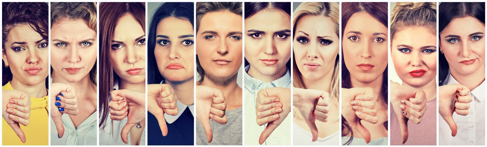 Download Group Of Multicultural Young Women Making Thumbs Down Gesture For Disagreement Stock Image - Image of ethnic, feelings: 102744187