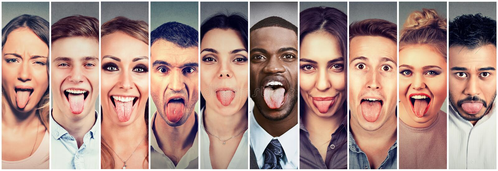 Group of multicultural young people men and women sticking out their tongues royalty free stock image