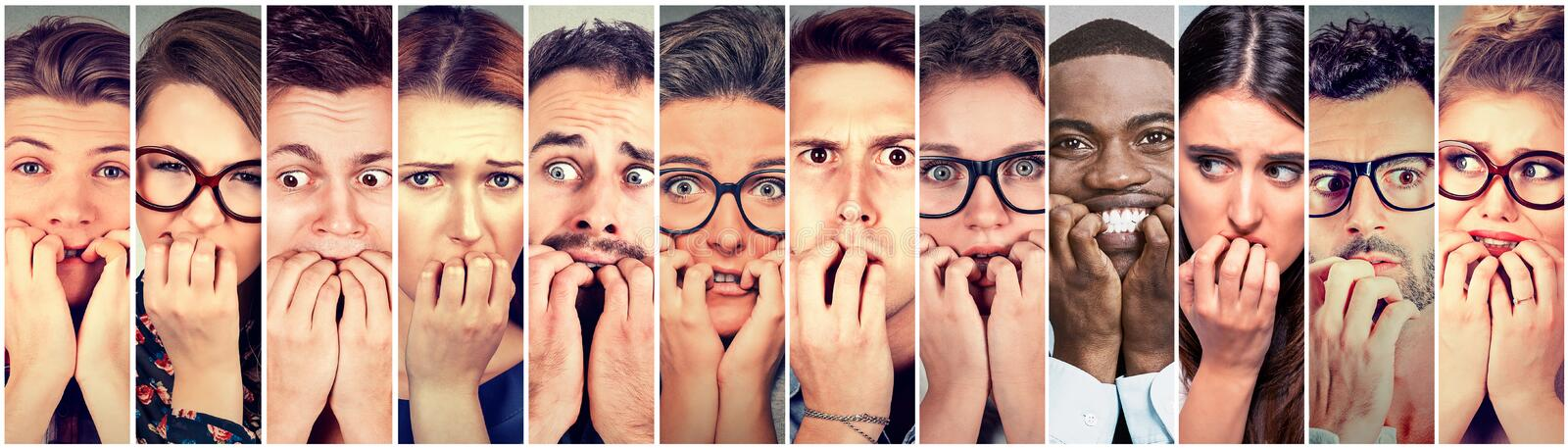 Group of multiethnic anxious people biting fingernails nervous stressed royalty free stock photo