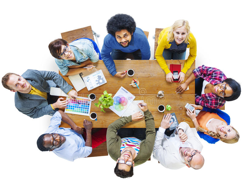 Group of Multiethnic Designers Looking Up.  royalty free stock photography