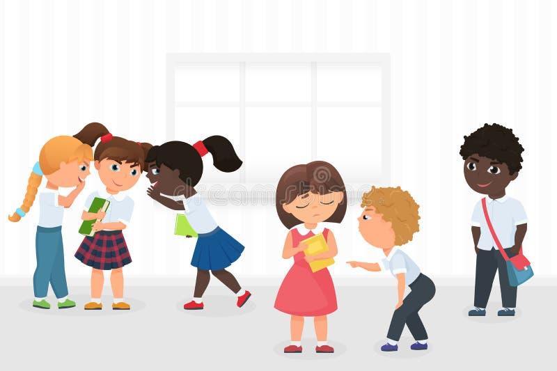 Group of multiethnic kids gossiping and bullying sad girl during break in school hallway cartoon vector illustration. Group of multiethnic kids gossiping and vector illustration