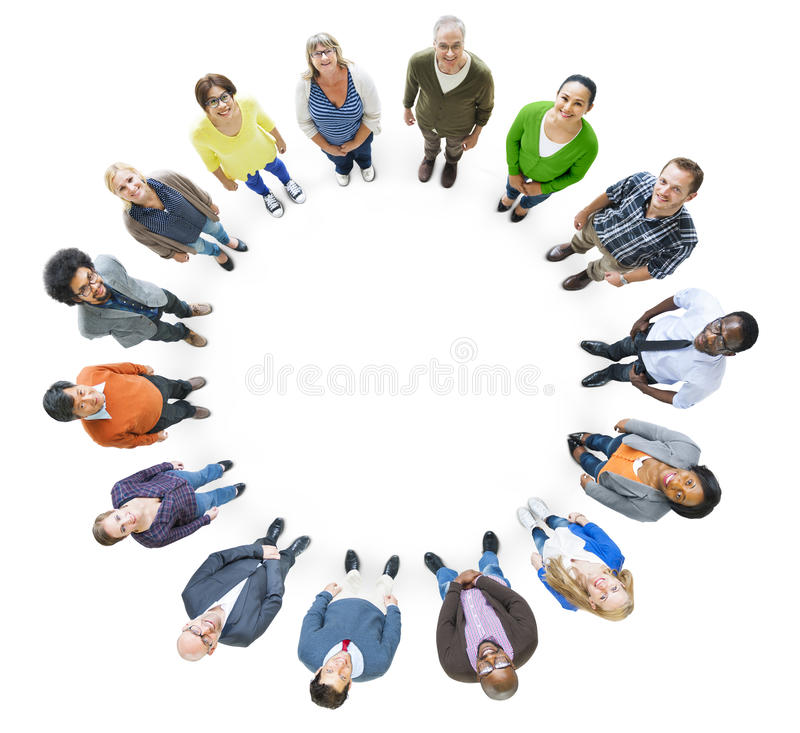 Group of Multiethnic People in a Circle Looking Up stock illustration