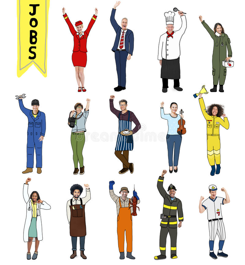 Group of Multiethnic People with Different Jobs. Group of Diverse Multiethnic People with Different Jobs stock illustration