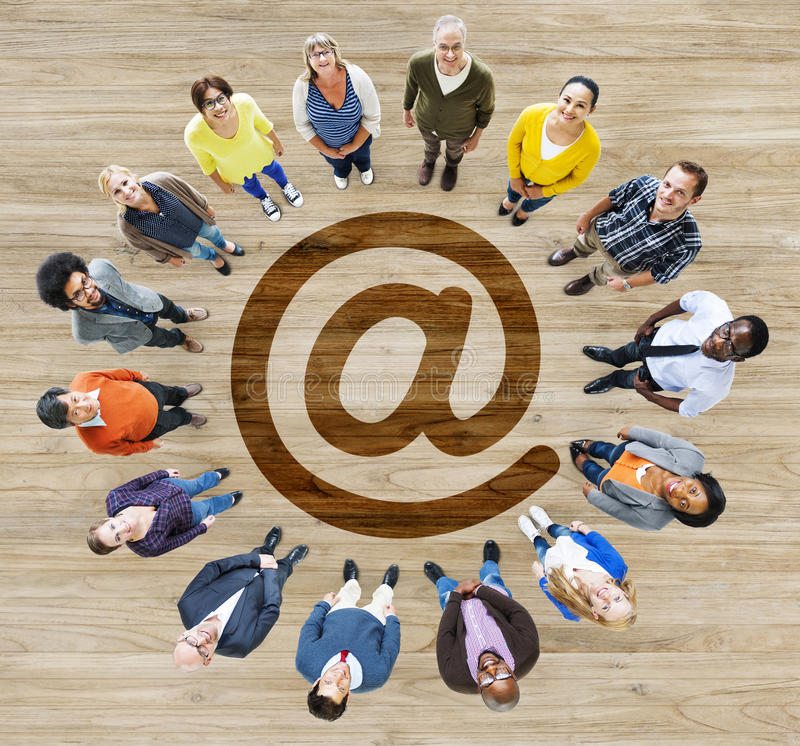 Group of Multiethnic People Forming a Circle.  stock image