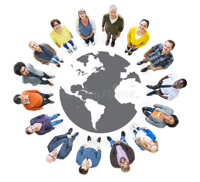 Group of Multiethnic People Looking Up.  royalty free illustration