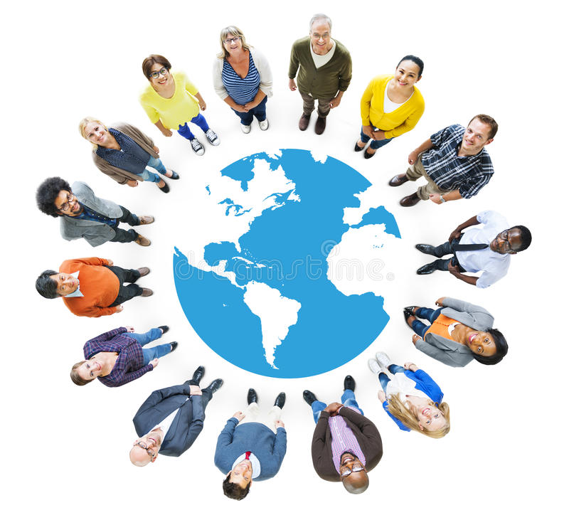 Group of Multiethnic People Looking Up.  stock illustration
