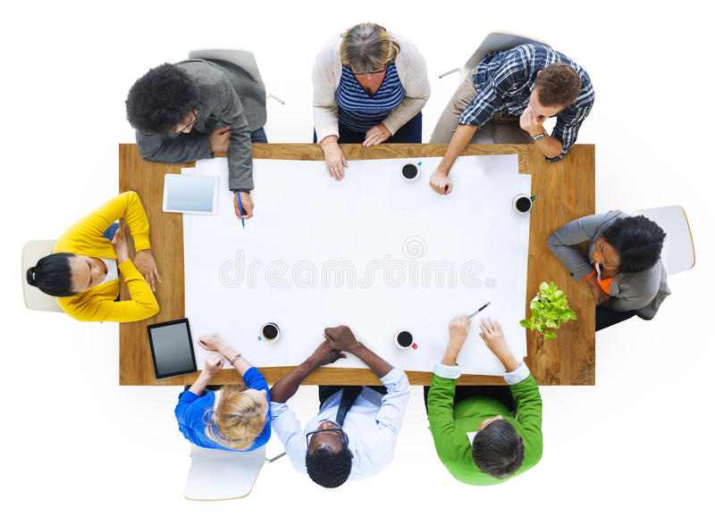Group of Multiethnic People Planning on a New Project stock images