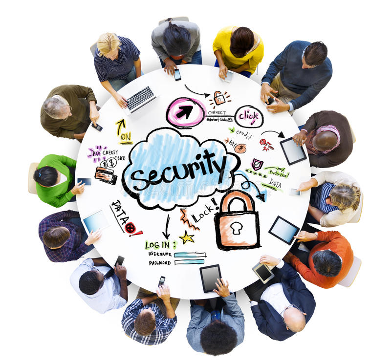 Group of Multiethnic People with Security Concept.  stock illustration