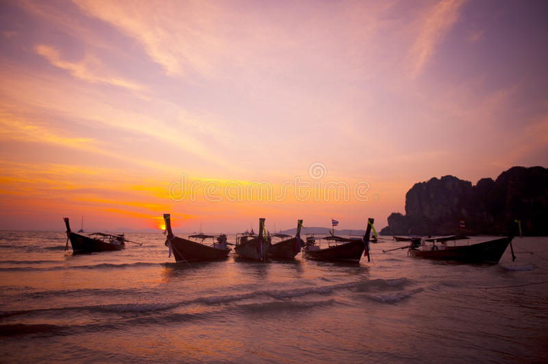 Group of Multiple Boats in Sunset royalty free stock photography