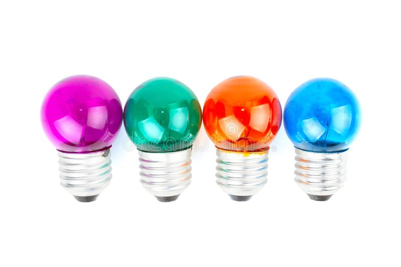 Group of Multiple color Incandescent round light bulb. royalty free stock images