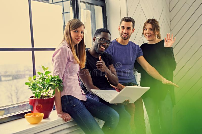 Multiracial students in a room royalty free stock photos